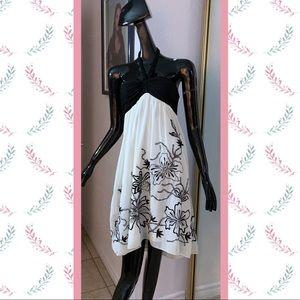 OC by OC Silk Embroidered w/ Beading Halter Dress